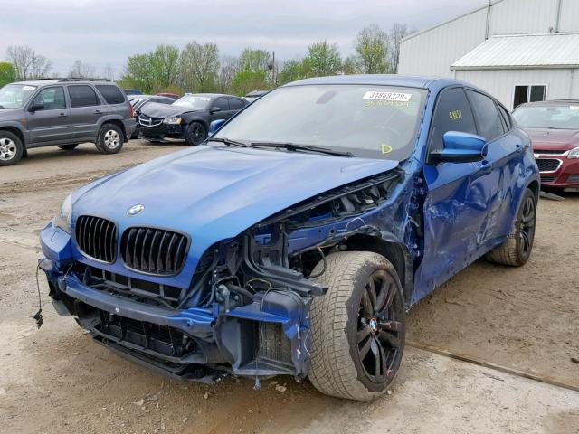 5YMGZ0C56E0C40523 - 2014 BMW X6 M BLUE photo 2