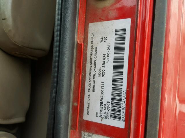 2HSCESBR47C517141 - 2007 INTERNATIONAL 9200 9200I RED photo 10